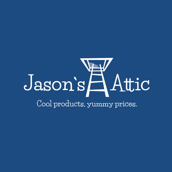 Ladder design with the title 'Jason`s Attic / Cool products, yummy prices.'
