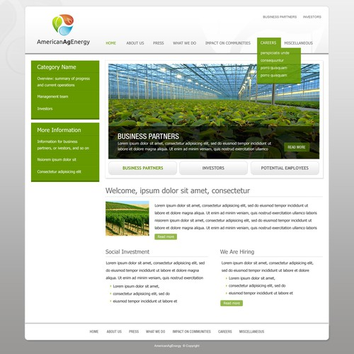 Science website with the title 'Design a Website for American Ag Energy'
