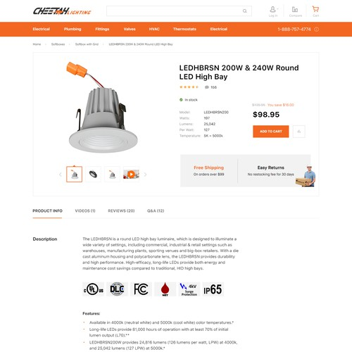 Product page design with the title 'Cheeta Lighting website'