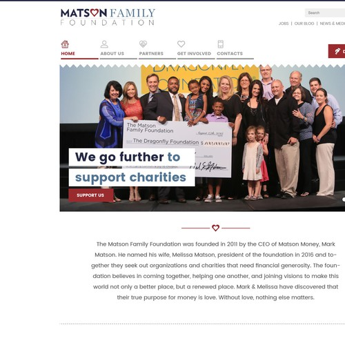 Nonprofit website with the title 'Charity website for The Matson Family Foundation'