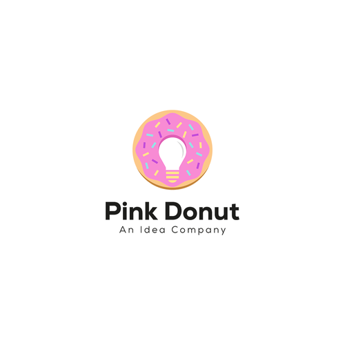 Donut logo with the title 'Logo Pink Donut'