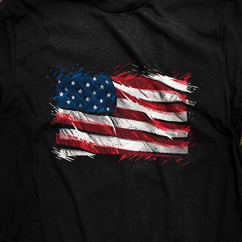 Kickass t-shirt with the title 'badass US flag'