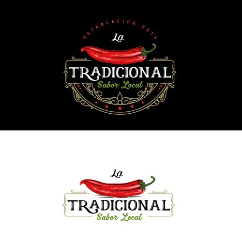 Chili pepper logo with the title 'Logo Design La Tradicional'