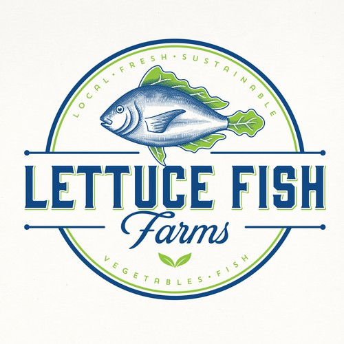Farm brand with the title 'LETTUCE FISH FARM LOGOS'