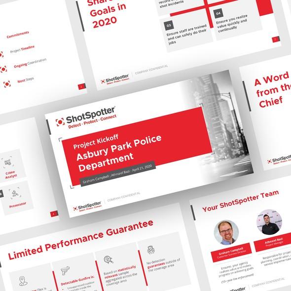 Presentation design with the title 'Presentation design for ShotSpotter'