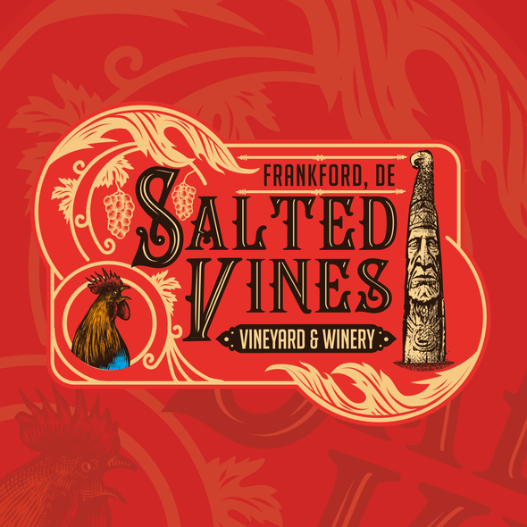 Winery design with the title 'Vintage Vineyard & Winery Logo Design'