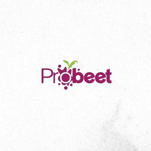 Pink and purple logo with the title 'Create a capturing beverage product logo for ProBeet'