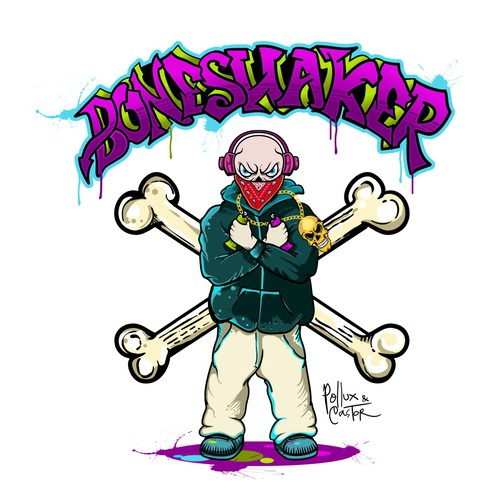 Creative illustration with the title 'BONESHAKER '