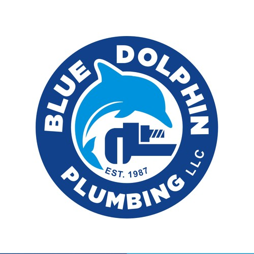 Dolphin design with the title 'Creative Logo for Plumbing Company'