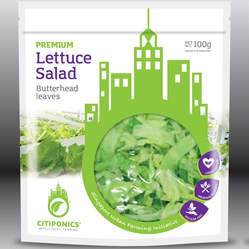 Sustainable design with the title 'Lettuce Salad Bag Design'