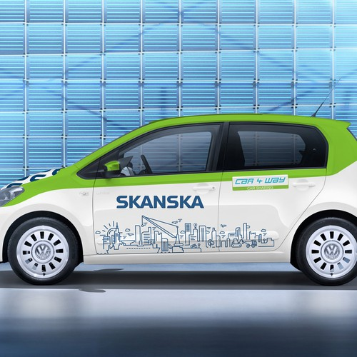 VW design with the title 'Minimal wrap for skanska & carway'