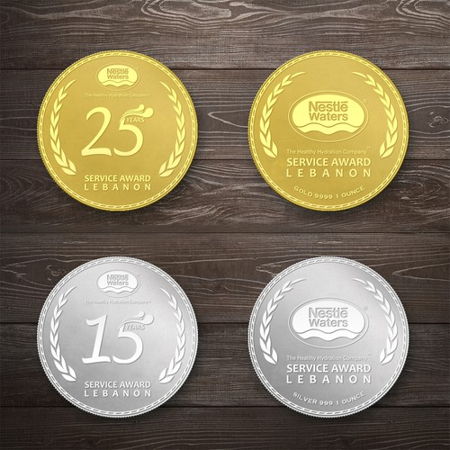 Award design with the title 'Gold and Silver of Commemorative Coins'