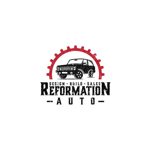 Vehicle design with the title 'Reformation Auto company logo'