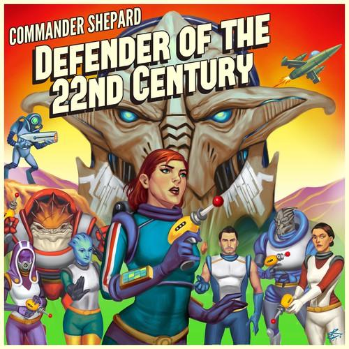 Retro artwork with the title 'Commaander Shepard Retro Futuristic Illustration'