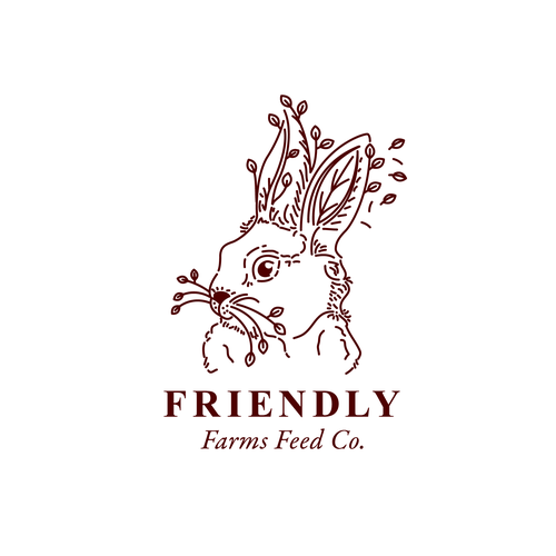 Forest logo with the title 'Rabbit + leaves illustration.'