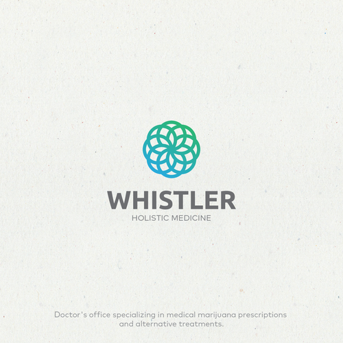 Medicinal marijuana logo with the title 'Whistler - Holistic Medicine logomark'