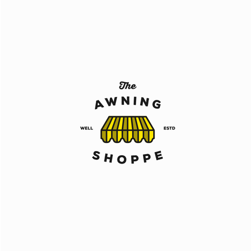 Black and yellow logo with the title 'the awning shoppe'