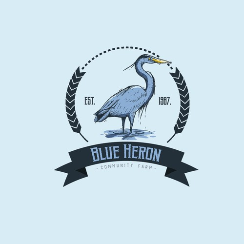 Banner logo with the title 'Blue Heron - Vintage illustration logo design'
