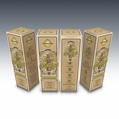 Design playful box for our new Harlequin cannabis oil