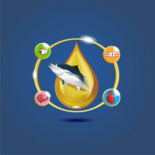 Fish illustration with the title 'We need a vibrant illustration reflecting our new Tuna Oil supplement'