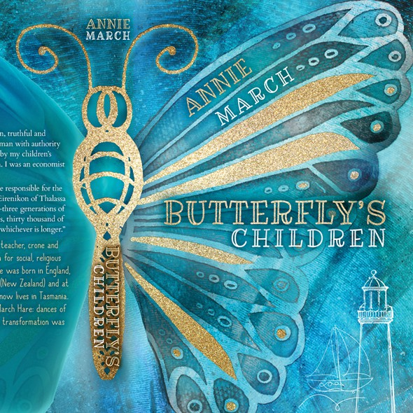 Golden book cover with the title 'Butterfly's Children by Annie March'
