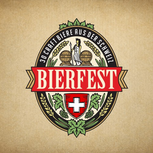 Beer glass logo with the title 'Logo for the largest beer festival in Switzerland'