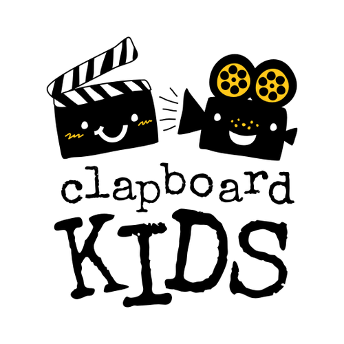"Camera logo with the title 'KIDS FILMMAKING LOGO: Give us your ""take"" on an eye-catching logo! Weteach filmmaking to kids, ages 6 and up.'"