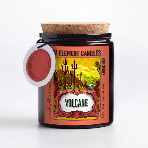 Candle label with the title 'Four element candle label design'