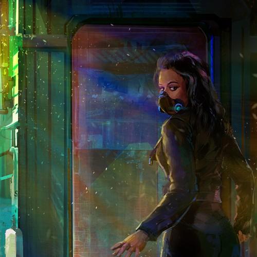 Cyberpunk design with the title 'Bazaar'