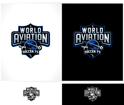 Soccer logo with the title 'Logo required for international Soccer Tournament with aviation theme.'