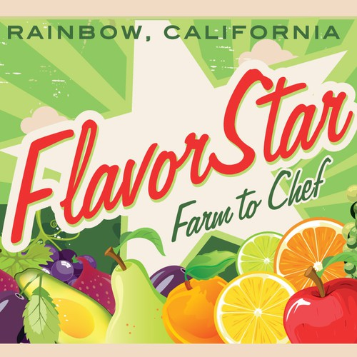 Organic food label with the title 'Flavor Star Fruit Box Label/logo for Farmer Laura's start-up produce company'