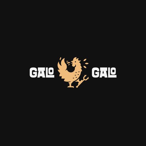 Monochromatic design with the title 'Galo Galo Logo'