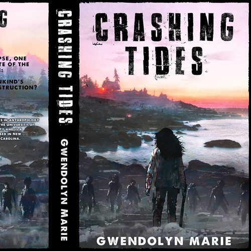 Post-apocalyptic book cover with the title 'Crashing Tides. A Post-Apocalyptic Outbreak Book'