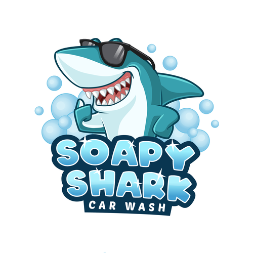Shark design with the title 'Soapy Shark Car Wash'