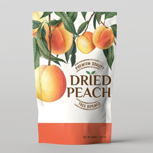 Snack packaging with the title 'Dried Peach'