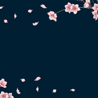 Pink Flowers on Branch on a Navy Background
