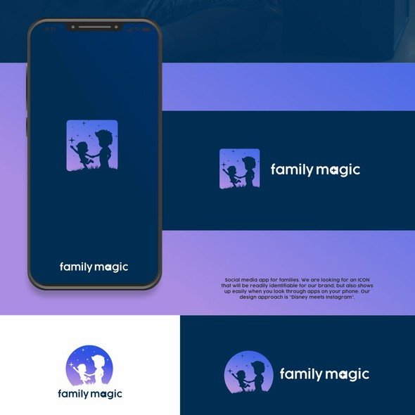 Boy and girl logo with the title 'Family Magic app logo'