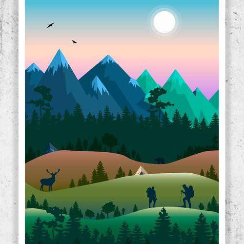 Forest illustration with the title 'Nature Poster'