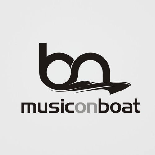 Music festival logo with the title 'Music on Boat'