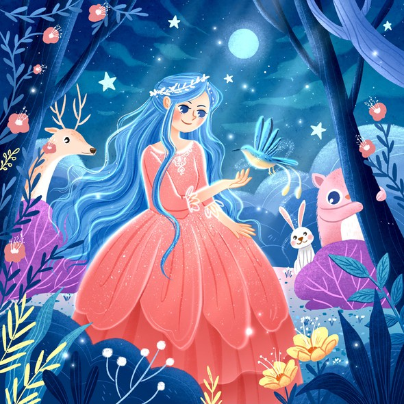 Princess illustration with the title 'Fairy Tale Princess'