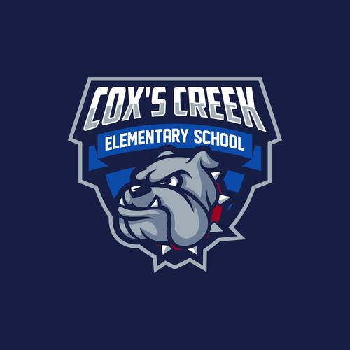 Bulldog mascot logo with the title 'Logo for Cox's creek Elementary school'
