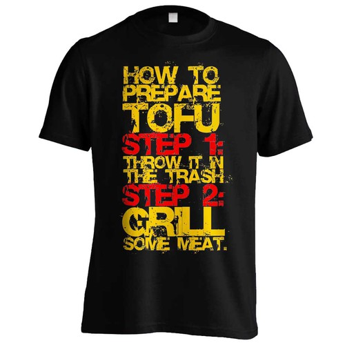 Step design with the title 'Tofu t-shirt'