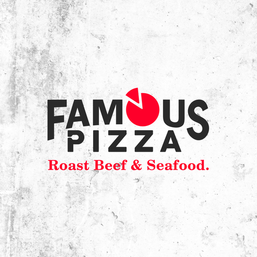 Angus logo with the title 'Famous Pizza Roast Beef & Seafood'