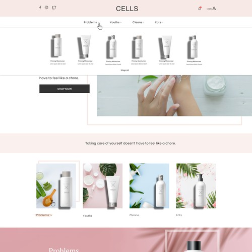 Skin care website with the title 'Organic Dermatology/Skincare web design'