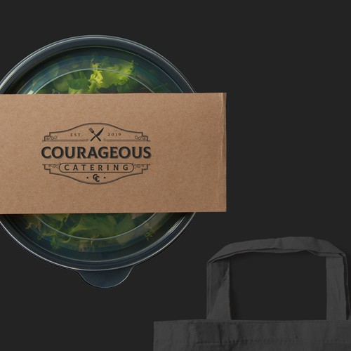 Catering logo with the title 'Courageous Catering'