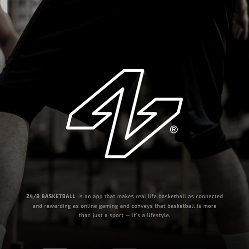 Simple logo with the title '24 8 Basketball App Logo'