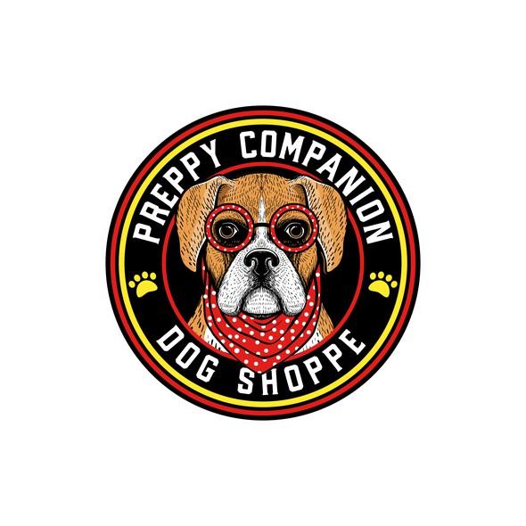 Cute dog logo with the title 'Preppy Companion Dog Shoppe'