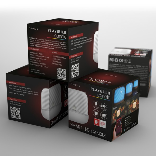 Package label with the title 'Mipow Playbulb product family package design'