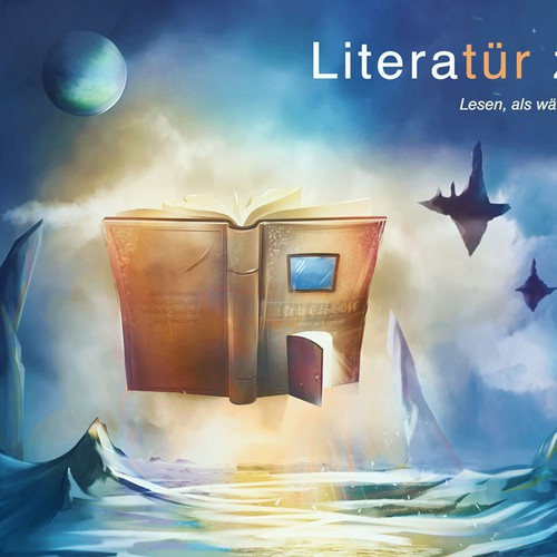 Bold artwork with the title 'Surrealist illustration for literature website'