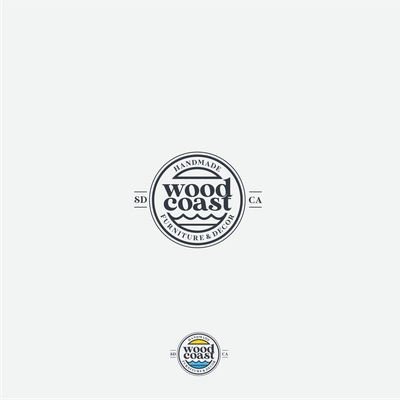 Minimalist logo badge for a San Diego-based woodworking business